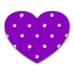 Royal Purple and Silver Bead Bling Mouse Pad (Heart)