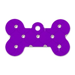 Royal Purple and Silver Bead Bling Single-sided Dog Tag (Bone)