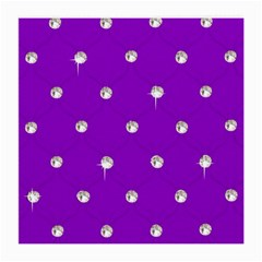 Royal Purple And Silver Bead Bling Single Sided Large Glasses Cleaning Cloth