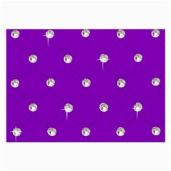 Royal Purple And Silver Bead Bling Twin Sided Handkerchief