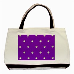 Royal Purple and Silver Bead Bling Twin-sided Black Tote Bag