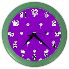 Royal Purple and Silver Bead Bling Colored Wall Clock