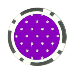 Royal Purple and Silver Bead Bling Poker Chip