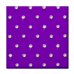 Royal Purple And Silver Bead Bling Face Towel