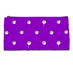 Royal Purple and Silver Bead Bling Pencil Case