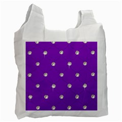 Royal Purple and Silver Bead Bling Single-sided Reusable Shopping Bag