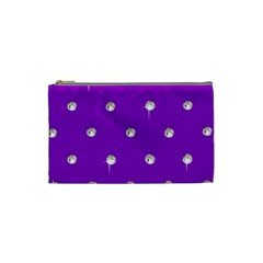 Royal Purple and Silver Bead Bling Small Makeup Purse