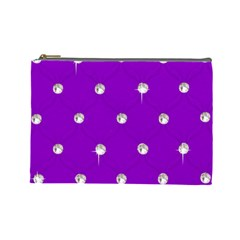 Royal Purple And Silver Bead Bling Large Makeup Purse