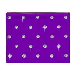 Royal Purple And Silver Bead Bling Extra Large Makeup Purse
