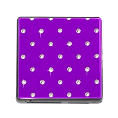 Royal Purple and Silver Bead Bling Card Reader with Storage (Square)