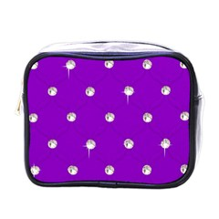 Royal Purple And Silver Bead Bling Single Sided Cosmetic Case
