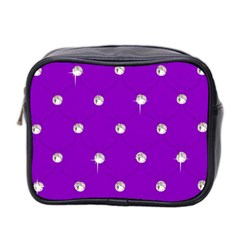 Royal Purple and Silver Bead Bling Twin-sided Cosmetic Case