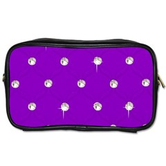 Royal Purple And Silver Bead Bling Single Sided Personal Care Bag