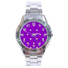 Royal Purple And Silver Bead Bling Stainless Steel Analogue Watch (round)