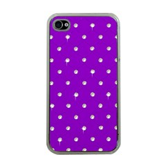 Royal Purple And Silver Bead Bling Apple Iphone 4 Case (clear)