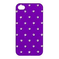 Royal Purple And Silver Bead Bling Apple Iphone 4/4s Hardshell Case