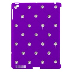 Royal Purple and Silver Bead Bling Apple iPad 3/4 Hardshell Case (Compatible with Smart Cover)