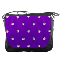 Royal Purple and Silver Bead Bling Messenger Bag