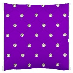 Royal Purple and Silver Bead Bling Large Cushion Case (One Side)