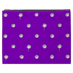 Royal Purple And Silver Bead Bling Cosmetic Bag (xxxl)