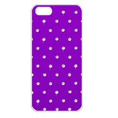 Royal Purple and Silver Bead Bling Apple iPhone 5 Seamless Case (White)