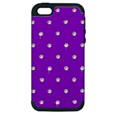 Royal Purple and Silver Bead Bling Apple iPhone 5 Hardshell Case (PC+Silicone)
