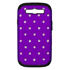 Royal Purple and Silver Bead Bling Samsung Galaxy S III Hardshell Case (PC+Silicone)