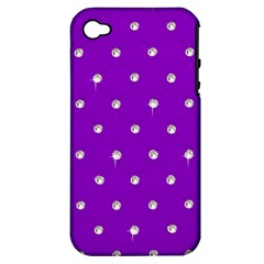 Royal Purple and Silver Bead Bling Apple iPhone 4/4S Hardshell Case (PC+Silicone)