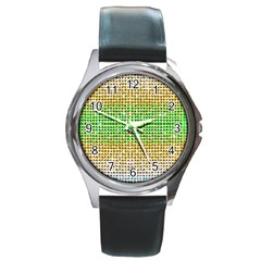 Diamond Cluster Color Bling Black Leather Watch (Round)