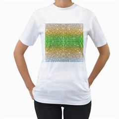Diamond Cluster Color Bling White Womens  T-shirt