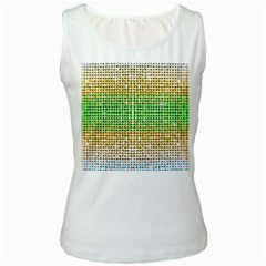 Diamond Cluster Color Bling White Womens  Tank Top