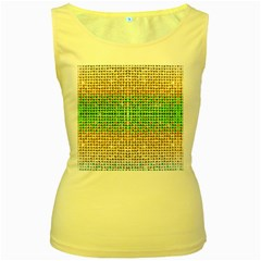 Diamond Cluster Color Bling Yellow Womens  Tank Top