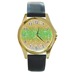 Diamond Cluster Color Bling Black Leather Gold Rim Watch (Round)