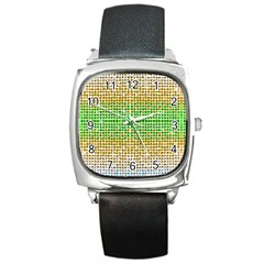 Diamond Cluster Color Bling Black Leather Watch (Square)