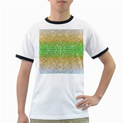 Diamond Cluster Color Bling White Ringer Mens'' T-shirt