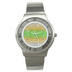 Diamond Cluster Color Bling Stainless Steel Watch (Round)