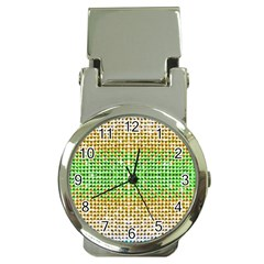 Diamond Cluster Color Bling Chrome Money Clip with Watch