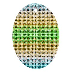 Diamond Cluster Color Bling Oval Ornament (two Sides)