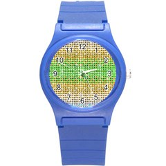 Diamond Cluster Color Bling Round Plastic Sport Watch Small