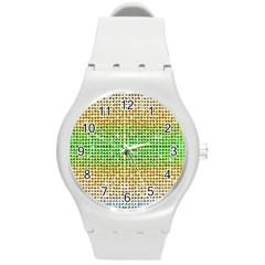 Diamond Cluster Color Bling Round Plastic Sport Watch Medium