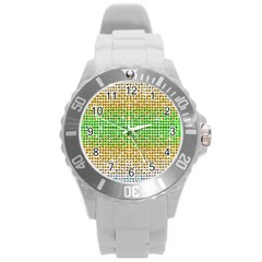 Diamond Cluster Color Bling Round Plastic Sport Watch Large
