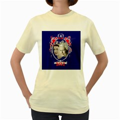 Queen Elizabeth 2012 Jubilee Year Yellow Womens  T-shirt