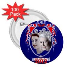 Queen Elizabeth 2012 Jubilee Year 100 Pack Regular Button (Round)