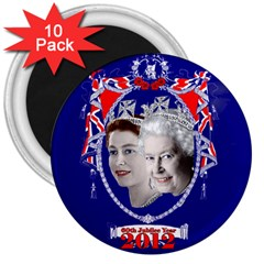 Queen Elizabeth 2012 Jubilee Year 10 Pack Large Magnet (Round)