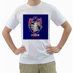 Queen Elizabeth 2012 Jubilee Year White Mens  T-shirt