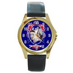 Queen Elizabeth 2012 Jubilee Year Black Leather Gold Rim Watch (Round)