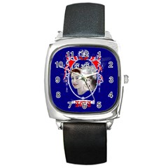Queen Elizabeth 2012 Jubilee Year Black Leather Watch (square)