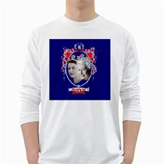 Queen Elizabeth 2012 Jubilee Year White Long Sleeve Man''s T-shirt