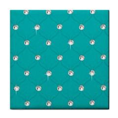 Turquoise Diamond Bling Ceramic Tile