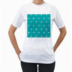 Turquoise Diamond Bling White Womens  T-shirt